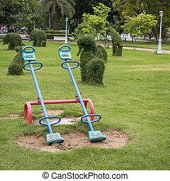 Children playground in park.