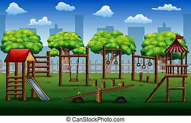 Children playground in the city park with toys