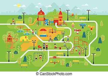 Children playground in the park with people and attractions for kids vector flat illustration