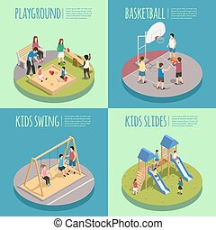 Children Playground Isometric Compositions - Children...