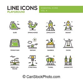 Children playground line design icons set