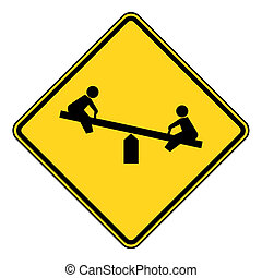 Children playground sign - Children on seesaw playground ...