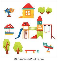 Children Playground Vector Illustration - Children...