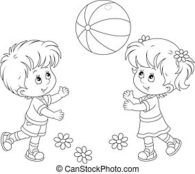 Children playing a ball - Little girl and boy playing with...
