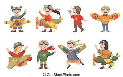 Children playing air crew set