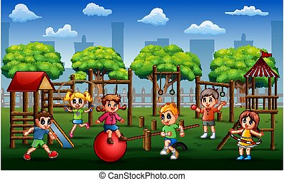 Children playing and exercising in the park at daytime