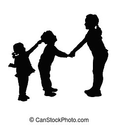 children playing and pulls the hair silhouette