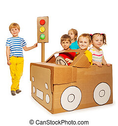 Children playing and studying traffic regulations - Five...