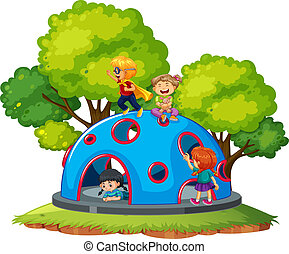 Children playing at climbing dome illustration