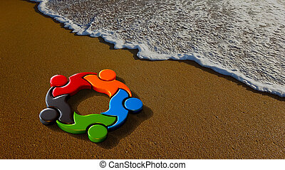 Children Playing at the Beach. 3D Rendering Illustration