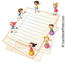 Children playing at the paper borders - Illustration of the...