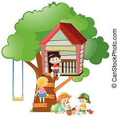 Children playing at the treehouse in garden