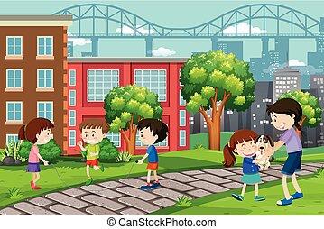 Children playing at urban park