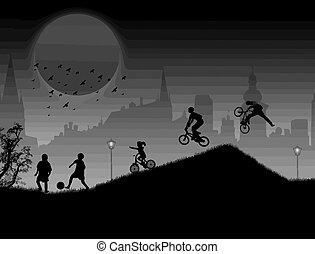 children playing background