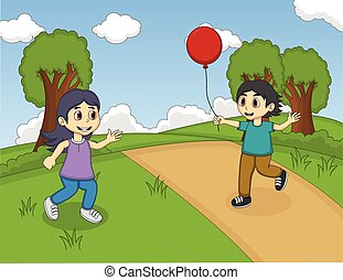 Children playing balloon