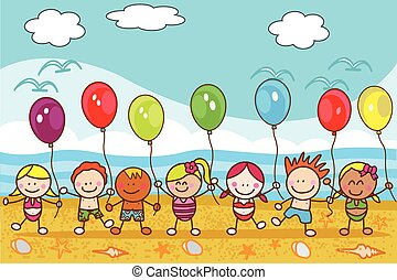 Children playing baloon at beach