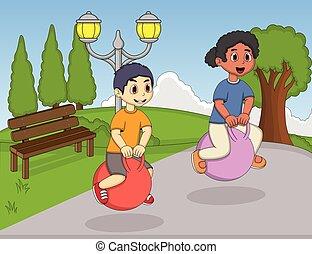 Children playing bouncing ball