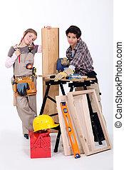 Children playing builder