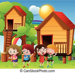 Children playing by the treehouse