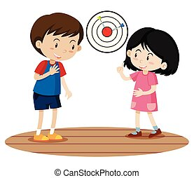 Children Playing Dart Game illustration