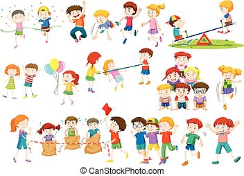 Children playing different games and activities