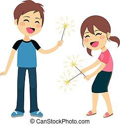 Children Playing Fireworks