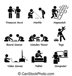 A set of human pictogram representing children playing traditional and modern games such as treasure hunt, marble, hopscotch, board games, wooden tower, toys, video games, tablet and computer.