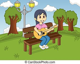 Children playing guitar in the park