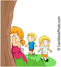 Children playing Hide and Seek with Clipping Path