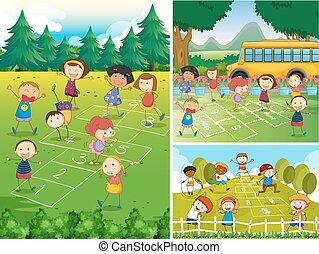 Children playing hopscotch in the park