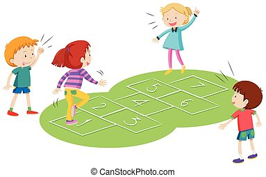 Children playing hopscoth together