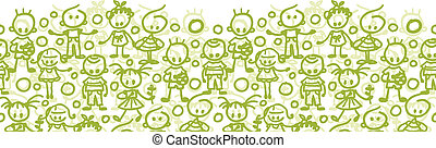 Children playing horizontal seamless pattern background border
