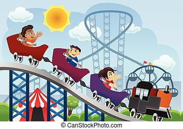 Children Playing  in a Amusement Park
