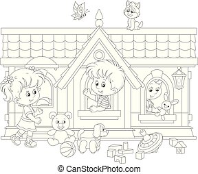 Little girl and boys with their toys in a small house on a playground, a black and white vector illustration in a cartoon style for a coloring book