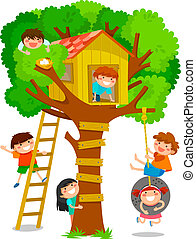 tree house - children playing in a tree house