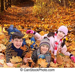 Children playing in Autumn