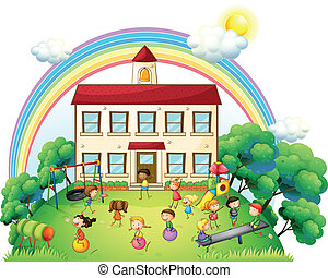 Children playing in front of the school - Illustration of...