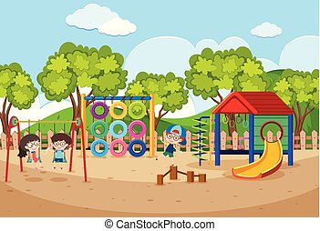 Children playing in playground at daytime