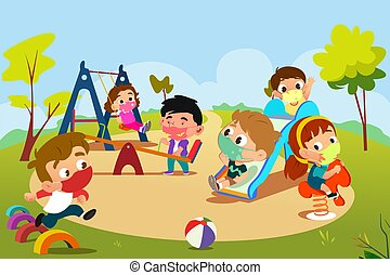 Children Playing in Playground During Pandemic Illustration