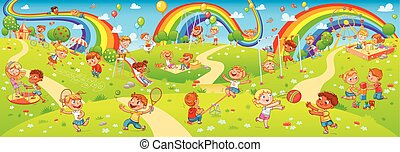 Children playing in playground. Seamless children's panorama for your design