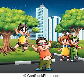 Children playing in the city road