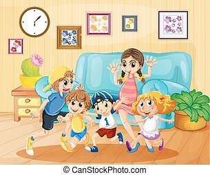 Children playing in the living room