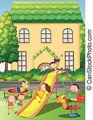 Children playing in the neighborhood playground