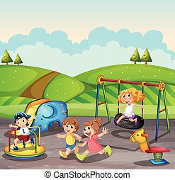 Children playing in the playground at daytime