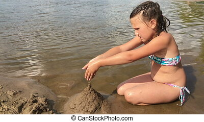 children playing in the sand on the river Bank
