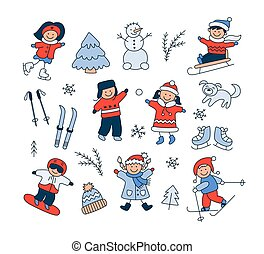 Children playing in the snow, sledding, skiing, skating, snowboarding and set doodle winter objects.