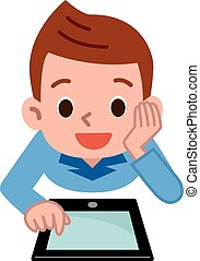 Children playing in the tablet PC - Vector illustration.