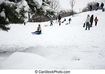 Children playing in winter