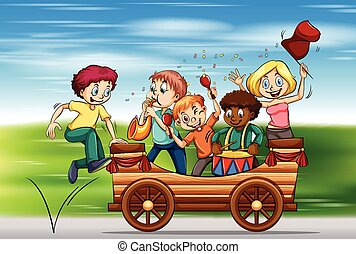 Children playing instruments on the wagon