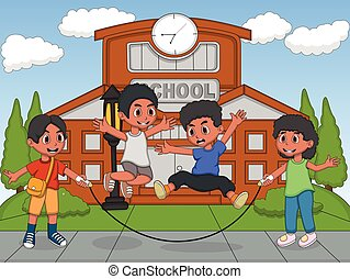 Children playing jumping rope